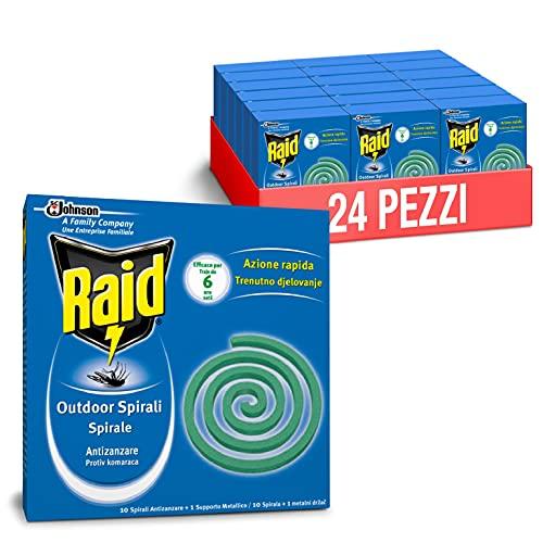 Raid Spirali Antizanzare, Formato Scorta 24 Confezioni Da 10 Spirali Ciascuna [240 spirali]