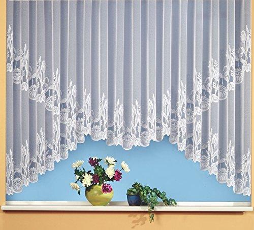 Gardine Vorhang edler Jacquard Store als Rundkuvert-Bogen in rein weiß HxB 145x450 cm mit schöner Blumen Kante gebogt - auf Maß - geprüfte hochwertige Qualität …auspacken, aufhängen, fertig! Typ69