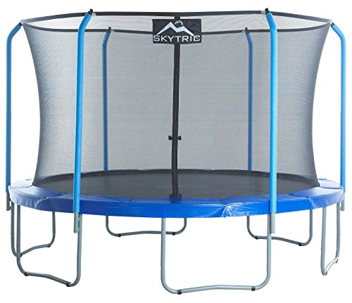 Skytric 11ft Large Trampoline with Top Ring Enclosure System, Safety Net, Jumping Mat, Spring Cover Pad for Garden Outdoor, Easy Assemble