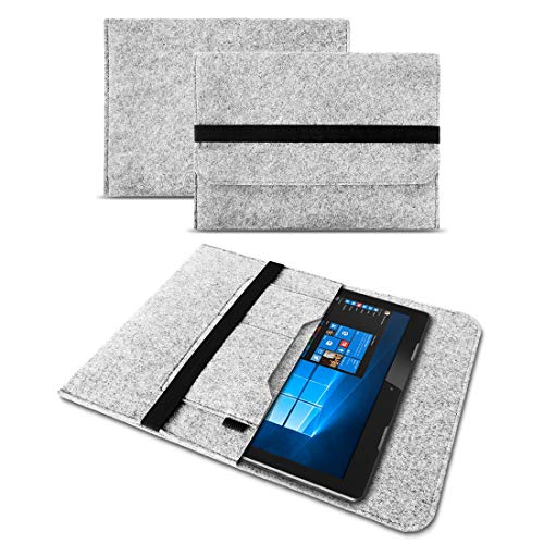 UC-Express Sleeve Hülle Trekstor SurfTab Duo W1 Filz Tasche Hülle Cover Tablet Schutzhülle, Farben:Helles Grau