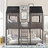 Low Bunk Beds Full Over Full Size, Wood Bunk Beds with Roof and Guard Rail for Kids, No Box Spring Needed (Antique Grey, Full Over Full)