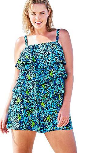 Women's Plus Size Bandeau Swim Romper Swimsuit - 24 W, Sea Glass Floral Print Black