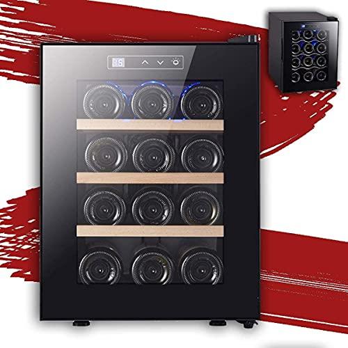 NFRMJMR Refrigerador del Enfriador de Vino, frigorífico de Vino Botella, Incorporado o Independiente con Control de Temperatura Digital, Vidrio en Capas, fácil de operar el Vino del compresor para 12