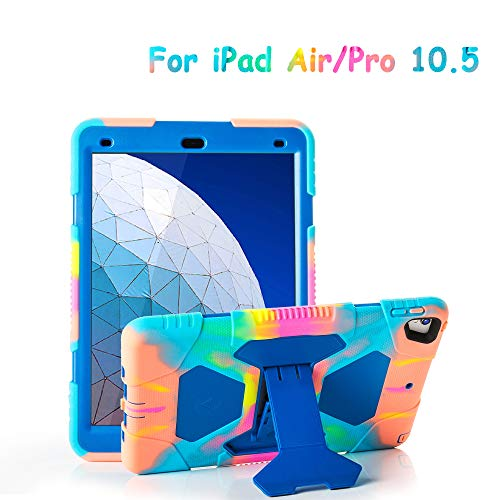 ACEGUARDER iPad Air 10.5' 2019/iPad Pro 10.5 2017 Case, Ultra Protective Rugged Cover with Kickstand for Kids Shockproof Impact Resistant - Icecream/Blue