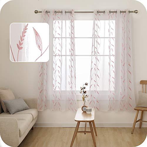 UMI. by Amazon 2 Stück Vorhang Voile Leinen Optik Weizen Vorhänge Wohnzimmer Ösenvorhang Transparent 180x140 cm Pink