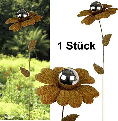 itsisa ® Gartenstecker Blume Typ 1 Rost Design mit Silberkugel - Gartendeko, Terrassendekoration