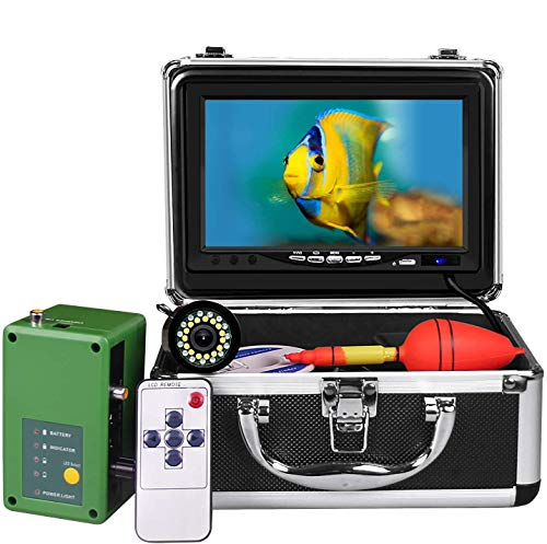 Underwater Fishing Camera, Portable Ice Fish Finder with 30 Adjustable LEDs and 7inch 1080P IPS Monitor with DVR 16GB SD Card Fishing Video Camera for Ice, Lake, Boat, Sea (15M)