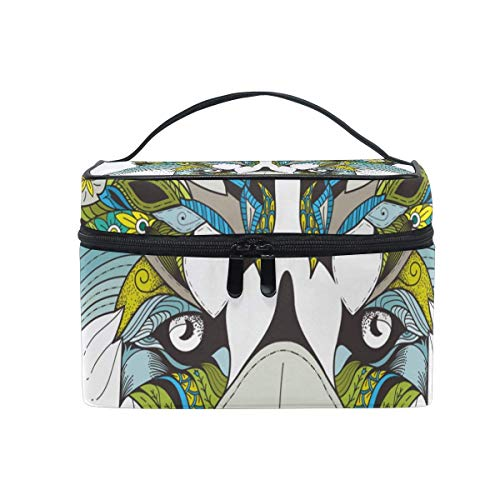 Animal Fox Head Floral Cosmetic Bag Toiletry Travel Makeup Case Handle Pouch Multi-Function Organizlà pour Les Femmes