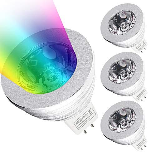 MENGS4 Stück 3W RGB LED Reflektorlampe MR16 LED Farbige Licht Leuchtmit RGB LED Leuchtmittel Dimmbar mit Fernbedienung, ersetzt 20W, 60° Abstrahlwinkel 180lm für Ambiente Party Deko