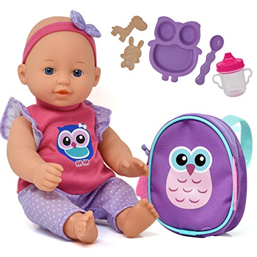 Baby Doll with Backpack Carrier, Doll Feeding Set Accessories, 12 Inch Doll with Baby Bottle and Mini Doll Backpack, Unicorn Owl Styles May Vary