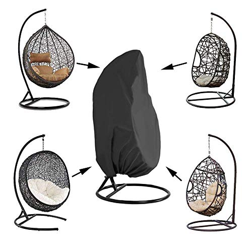 NMDD Patio Hanging Chair Cover Waterproof Anti-UV Outdoor Swing Covers with Hem Cord Oxford Wicker Egg Swing Chair Cover Heavy Duty Weather Resisatnt Black,210D,200x230cm