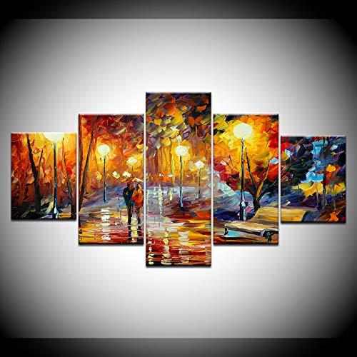 KJLTLD Leinwand Bild - Laufen Sie im Regen - 200 x 100 cm Vlies Wohnung Wanddeko Wand Wohnzimmer - 5 Teilig - Kunstdrucke - Fertig zum Aufhängen
