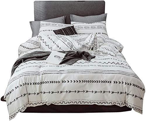 Matasuer Kids Duvet Cover Set - Black White Minimalistic Arrow Geometric Pattern - King (220 X 230 Cm) Bedding Set Microfiber Quilt Cover And 3 Pieces Pillowcases Duvet Set Gift For Teens Girls