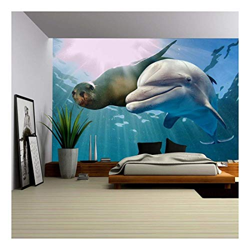 wall26 - Dolphin and Sea Lion Underwater on Ocean Background Looking at You - Removable Wall Mural | Self-adhesive Large Wallpaper - 100x144 inches
