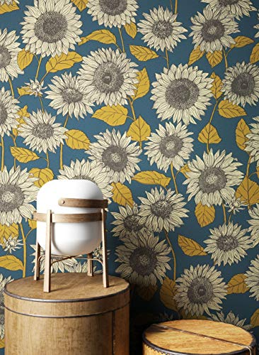 NEWROOM Tapete Blau Vliestapete Blumen - Blumentapeten Floral Gelb Sonnenblumen Natur Mustertapete Landhausstil inkl. Tapezier-Ratgeber