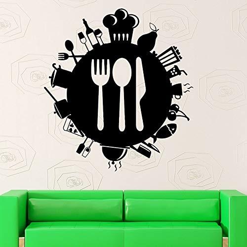Tianpengyuanshuai muurtattoo, vinyl, raamstickers, keuken, restaurant, koffie, decoratie, keukengereedschap, muur, 85 x 93 cm
