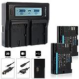 Blumax 2X Akku ersetzt Canon LP-E6N 2040mAh + Doppel-Ladegerät Dual | kompatibel mit Canon EOS-R, EOS R5 R6, EOS 60D 70D 80D 90D, EOS 6D, EOS 5D Mark III || 2 Akkus gleichzeitig Laden