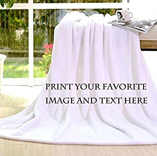 Personalized Customize Throw Blanket Bed Blankets Made Custom from Your Photo INTO Soft Fabric Velvet Plush Fleece Keepsake Gift Personalized Your Photo Image Text Picture Printed (Standard 50X60)