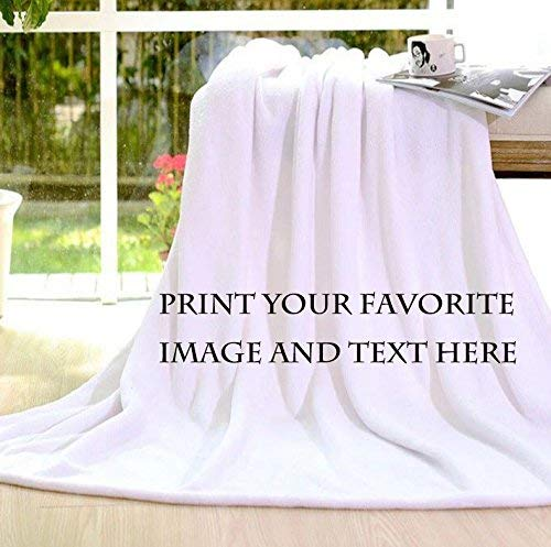 Personalized Customize Throw Blanket bed blanket Made Custom from Your Photo INTO Soft Fabric Velvet Plush Fleece Keepsake Gift Personalized Your Photo Image Text Picture Printed (Small 40'X50')