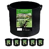 6個セット 3ガロン プランター 布鉢 栽培袋 フェルト 不織布ポット 植え袋 ガーデン 通気性 diy 園芸 植物育成 野菜栽培 大容量 JES&MEDIS (6, 3ガロン_25Hx25D)