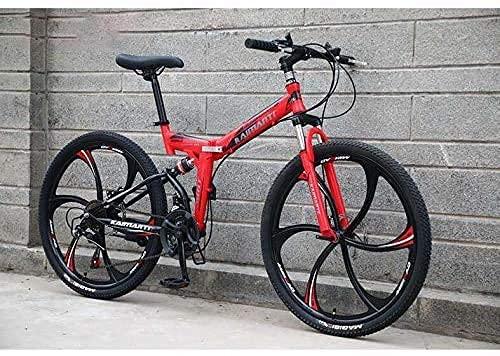 N&I Bicicleta de montaña plegable para hombre de 26 pulgadas, 21 velocidades, 24 pulgadas, 21 velocidades