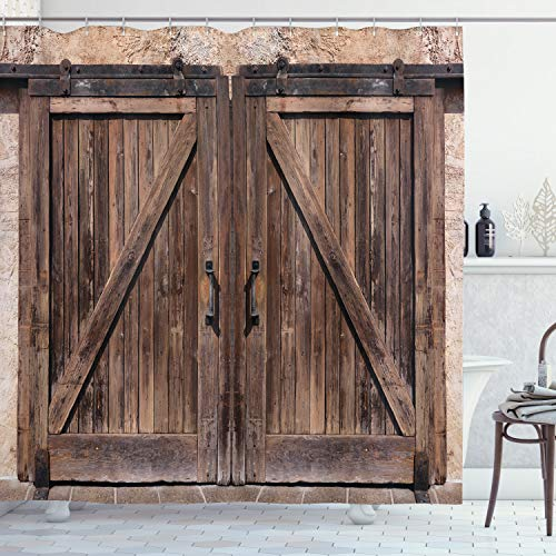 Ambesonne Rustic Shower Curtain, Wooden Barn Door in Stone Farmhouse Image Vintage Desgin Rural Art Architecture Print, Cloth Fabric Bathroom Decor Set with Hooks, 70' Long, Beige