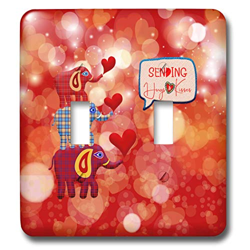 3dRose Beverly Turner Valentine Design - Image of Stacked Plaid Elephants and Hearts, Sending Hugs Heart Kisses - double toggle switch (lsp_306377_2)