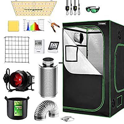 VIVOSUN Grow Tent Complete System, 4x4 Ft. Grow Tent Kit Complete with 6 Inch Inline Fan Package, VS4000 LED Grow Light, Temperature Humidity Monitor, Netting, Grow Bags, Pruning Shear and Timer