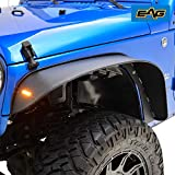 EAG Compatible with 2007-2018 Wrangler JK Front + Rear Fender Flares with LED Turn Signal Lights