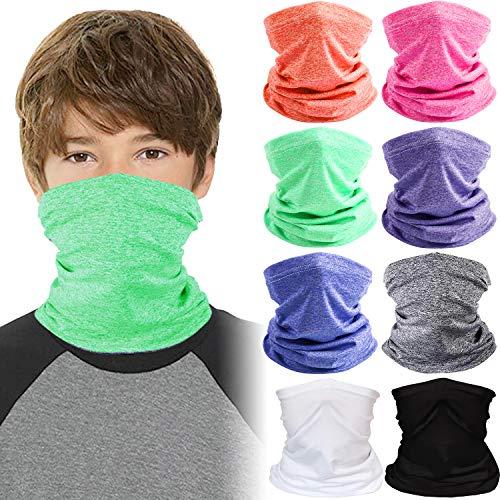 8 Pieces Kids Neck Gaiter Bandanas Face Cover Scarf Balaclava (Multi-Color)