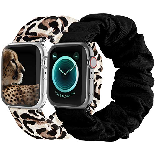 Compatible with Scrunchies Apple Watch Bands 38mm 40mm, Women Cloth Pattern Printed Fabric Wristbands Straps Elastic Scrunchy Band for iWatch Series 6 5 4 3 2 1 SE (Large Black, Leopard)