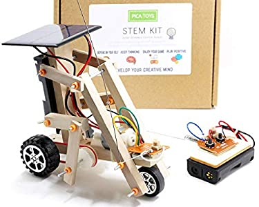 Pica Toys Wooden Solar & Wireless Remote Control Robotics Creative Engineering Circuit Science STEM Building Kit - Dual Powers for Electric Motor - DIY Experiment for Kids, Teens and Adults