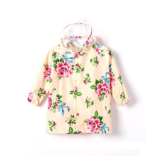 Dinglihuaqu Kinderregenponcho waterdichte mantel Raincoat licht Breath amandel bloemen-kind-baby X-Large