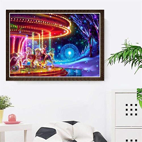 5D diamantmålningsset stor fullborr diamantmålning gör-det-själv målning vuxna/barn efter siffror korsstygn karikatyr karusell mosaik strass broderi konst för hem vägg dekor fyrkantig borr, 50 x 60 cm