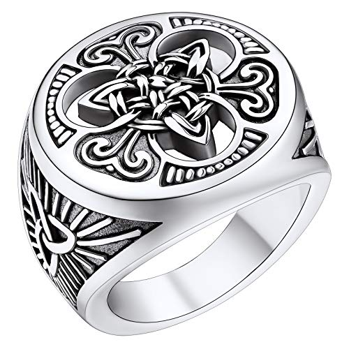 FaithHeart Mens Celtic Knot Signet Rings Round Vintage Stainless Steel Ring for Boys Biker Rings Jewelry
