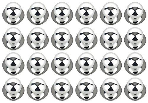 DESERMO 24er Set Kugelknöpfe für Kochjacken | Hochwertige Kochjackenknöpfe für alle Kugelknopf-Kochjacken | Profi Kochknöpfe mit metallisch-glänzendem Look (Silber)
