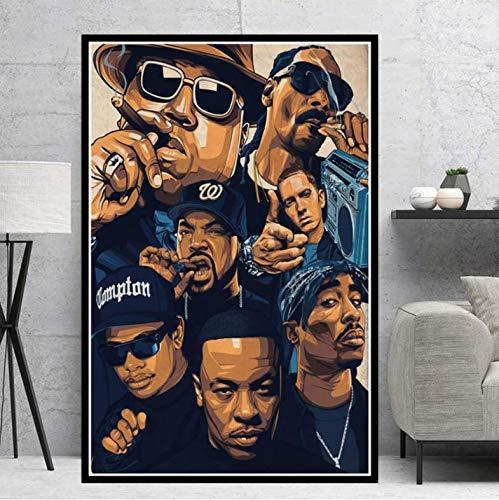 tgbhujk Poster Biggie Notorious 2PAC Jay-Z NWA Legende Sterne Collage Leinwand Ölgemälde Kunst Wandbilder Wohnzimmer Wohnkultur 42 * 60 cm Ohne gerahmte