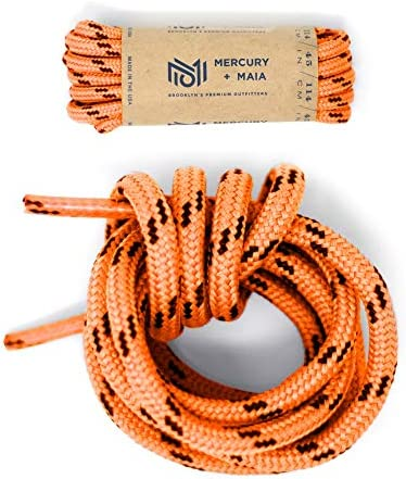 Honey Badger Work Boot Laces Heavy Duty W Kevlar USA Made Round Shoelaces for Boots Orange 60 product image