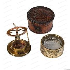 US HANDICRAFTS Vintage Compass Navigational Instrument - Marine Sundial Compass With Leather Case & Calendar…. #2