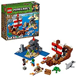 Build a pirate ship toy with working flick-missile cannons, gold detailing, pirate banner, gangplank and rowboat, plus a host of Minecraft mobs - all in a LEGO Minecraft skull island setting This LEGO Minecraft toy building set includes two minifigur...