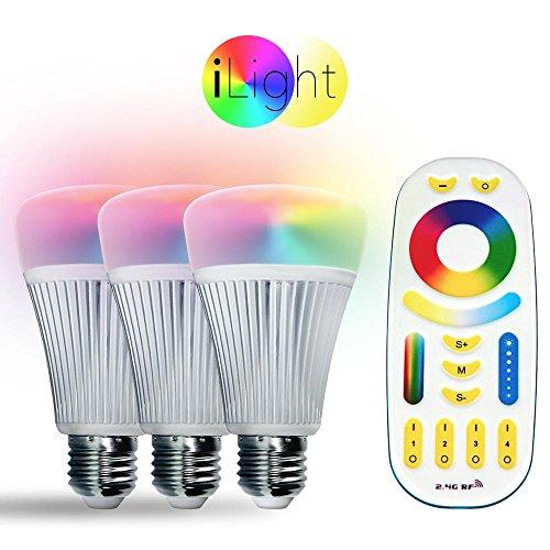 s.LUCE Starter-Set 3x E27 iLight LED + Fernbedienung RGB+CCT LED Leuchtmittel Lampe Dimmbar und Schaltbar farbig + weiss SmartHome SmartLED Leuchtmittel Birne LED 2,4 Hz Funk