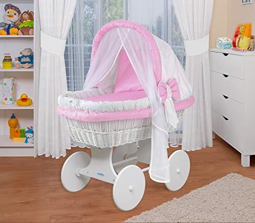 WALDIN Baby Stubenwagen-Set mit Ausstattung,XXL,Bollerwagen,komplett,44 Modelle wählbar,Gestell/Räder weiß lackiert,Stoffe weiß/rosa