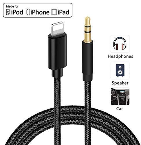 3,5 mm AUX-Kabel für iPhone zum Auto, AUX-Audiokabel, Auto-Stereo-Kabel und Kopfhöreranschluss, kompatibel mit iPhone 7/7P/8/8P/X/XR/XS/XS Max/11/11Pro/11pro Max, unterstützt iOS 13 (1 m)-Schwarz