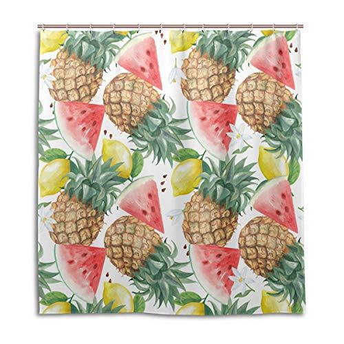 CPYang Duschvorhänge Tropische Ananas Zitrone Wassermelone Wasserdicht Schimmelresistent Badevorhang Badezimmer Home Decor 168 x 182 cm mit 12 Haken