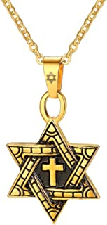 Cross in Six-Pointed Megan Star of David Necklace Religious Vintage Stainless Steel Pendant with 22 Inch Chain