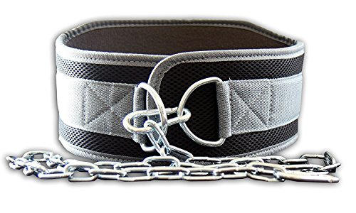 Peso cinturón con Cadena, Dip cinturón para Peso Pull Ups y caídas por el Fuego Equipo Fit, Gris