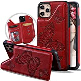 Vodico iPhone 11 Pro Max Wallet Case for Women/Girl with Card Holder, Slim Cute Girly Embossed Butterfly Leather Thin Folio Flip Magnetic Clasp Purse Phone Cover with Credit Card Slot&Stand (Red)