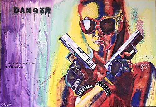 Bild, Sabrina Seck, Gemälde, handmade, original, painting, acryl, modern, abstrakt, XXL, exklusive-Art Titel: danger (70 cm x 100 cm)