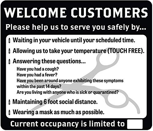 Barber Shop COVID-19 (Coronavirus) Adhesive Durable Vinyl Decal- 14x12' Sign by Graphical Warehouse- Safety and Security Signage, Visual Communication Tool (Black)
