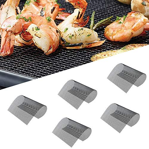 BBQ Grill Mesh Mat-Set of 5 Non-Stick Reusable Heavy Duty 13x15.75 Inch Heat Resistant Pad-Easy to Clean PTFE coated fiberglass Silicone Free-Suitable for Smoker, Pellet, Gas, Charcoal Grill(Black)
